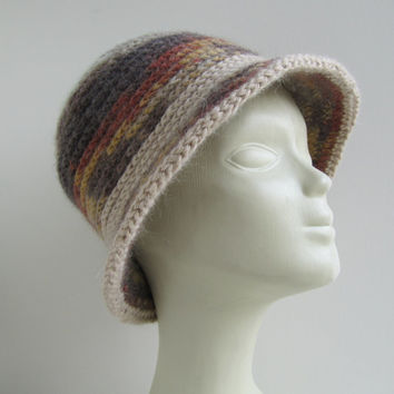 "Women fashion hat hand knitted multicoloured ........./ Crochet hat pattern/""Ombre"" hat"