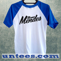 Shawn Mendes Basic Baseball Tee Blue Short Sleeve Cotton Raglan T-shirt