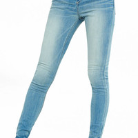Light Blue High Waisted Button Fly Jean Leggings from EXPRESS