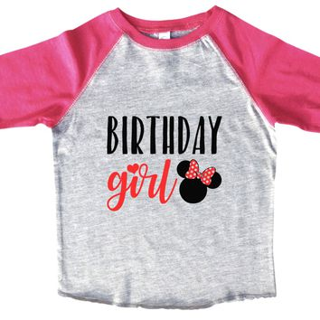 Birthday Girl BOYS OR GIRLS BASEBALL 3/4 SLEEVE RAGLAN - VERY SOFT TRENDY SHIRT B962