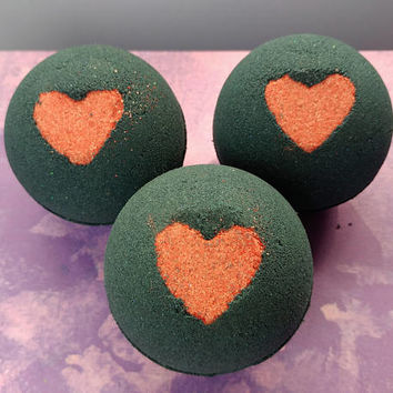 Love Spell Black Bath Bomb, Valentines Bath Bomb, Gifts for Her, Bathbombs, Valentines Gift Ideas, VDAY Gifts, Bath Bombs, Sparkly Baths Spa