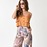 Retro Style Mustard Button Up Crop Top