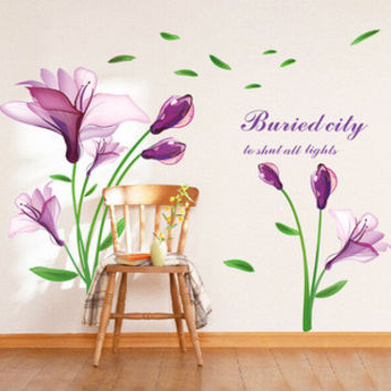 In  the new tulip patterns stick in the wall to stick on the wall mobile household wall stick the living room wall SM6