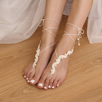 Destination Wedding Ivory Beaded Barefoot Sandals