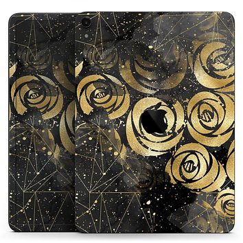 "Karamfila Watercolor & Gold V13 - Full Body Skin Decal for the Apple iPad Pro 12.9"", 11"", 10.5"", 9.7"", Air or Mini (All Models Available)"