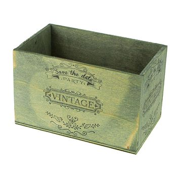 Save The Date Vintage Wooden Crate, Sage, 6-1/4-Inch