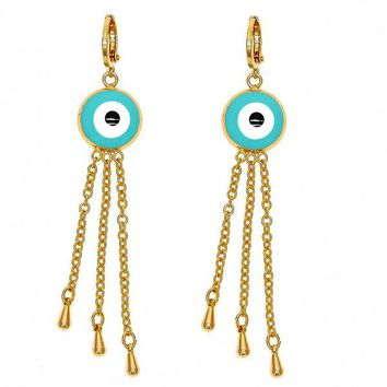 Gold Layered Long Earring, Greek Eye and Teardrop Design, Golden Tone