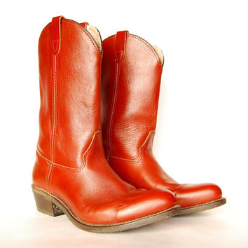 Vintage Double H HH Mens Boots 13 D Cowboy Boots, Red Chestnut Brown Leather Boots, Country Western Ranch Riding Boots, USA Work Boots