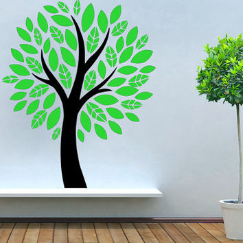 Green and Black Tree with Leaves Vinyl Decal Wall Sticker Furniture Removable Art Decor DIY! Free shipping! Give Your Bedroom Some Love !