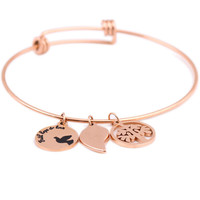 Rose Gold Color 316L Stainless steel Initial Expandable Wire Bangle Bracelets for women