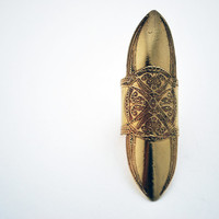medieval etched shield ring - brass ring - armour ring