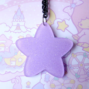 Chubby Purple Glitter Star Necklace