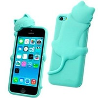 3D Cartoon Cute Cat Animal Shape Silicone Case Cover for iPhone 5C Mint Green
