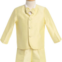 Yellow Poly Silk Eton Jacket & Shorts Outfit 4 Pc Suit (Baby or Toddler Boys)