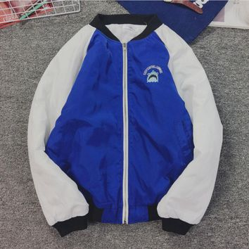 Ulzzang winter coat color female embroidery shark head lovers fitted cotton thick baseball clothes tide male Blue