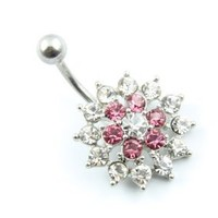 316L Surgical Stainless Steel Two Color Rhinestone Navel Belly Bar Ring Barbell Body Jewelry