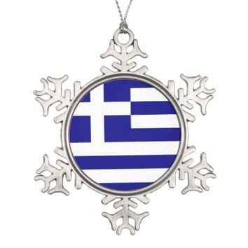 Snowflake Ornament with Greece Flag