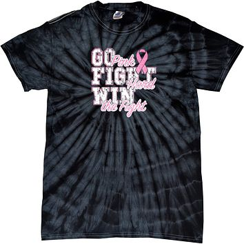 Breast Cancer T-shirt Go Fight Win Spider Tie Dye Tee