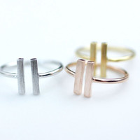Long double open Bar Adjustable Ring in 3 colors, R0059K