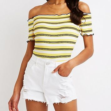 Striped Off The Shoulder Top | Charlotte Russe