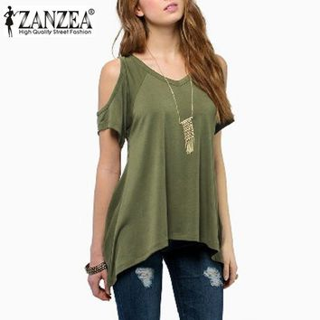 ZANZEA New Summer Style 2017 Women Off Shoulder Round Neck Short Sleeve Blouses Casual Loose Tops Off Shoulder Shirts Plus Size