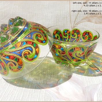 Glass BOWL candle holder | glass salad bowl, dinnerware, gift | stained glass, hand painted, vitrage | rainbow | Yule, winter solstice |OOAK