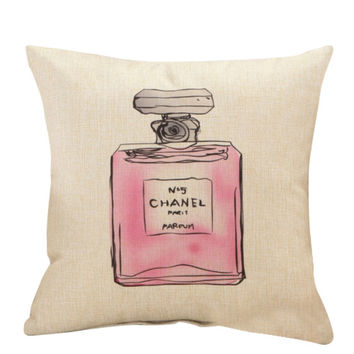 Purfume Bottle Throw Pillow Cover