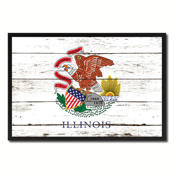 Illinois State Flag Vintage Canvas Print with Black Picture Frame Home DecorWall Art Collectible Decoration Artwork Gifts