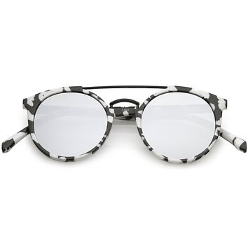 Modern Indie Marble Print Round Mirrored Flat Lens Sunglasses C232