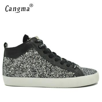CANGMA Designer Man's Fashion Sequined Casual Shoes Mid Men Sneakers Black And White Glitter Flats Male Lace-up Sequin Shoes
