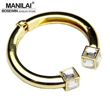 MANILAI Fashion High Quality Alloy Square Crystal Bangles Bracelets For Women Charm C Design Cuff Bangles Statement Jewelry