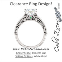 *Clearance* Cubic Zirconia Engagement Ring- The Martha (1.5 Carat Princess Cut with Pave Band in 14K White Gold)
