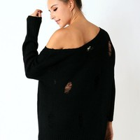 Black Long Sleeve Knit Sweater with Shredded Detail