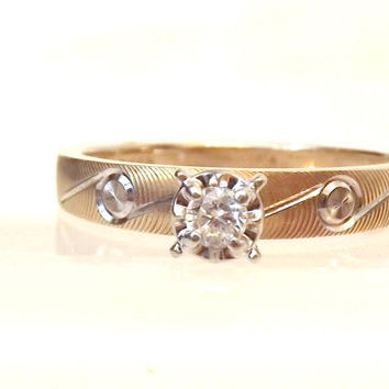 Diamond Solitaire Engagement Ring -14K Yellow Gold