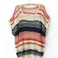 Bat Stripes Loose Sweater$39.00