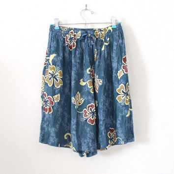 Vintage 90s High Waisted Hawaiian Print Women's Culottes - Beachy Blue Crinkle Rayon Tropical Women's Shorts - Size Small