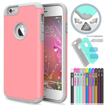 Double Color Hybrid Shockproof Back Cover Case For Iphone 6 6s  -0321