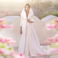 2016 Classic Long Sleeve Floor Length Wedding Jacket High Quality Custom Made White Satin Winter Wedding Coat Bridal Wraps Shawl
