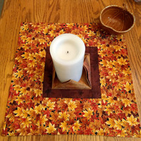 Fall Quilted Centerpiece, Extra Large Candle Mat, Brown, Yellow & Orange Metallic Mini Quilt, Hostess Gift, Quiltsy Handmade