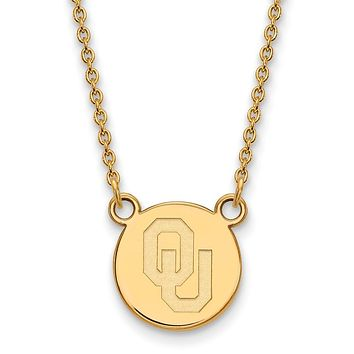 NCAA 14k Gold Plated Silver Oklahoma Small Disc Necklace