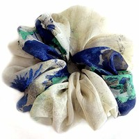Blue Gray Green Scrunchies for Hair Chiffon Stylish Accessories Headband Ponytail Holder Teen Girls Women