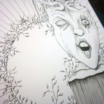 ARIA: Original artwork in pen and ink, surreal pen drawing, black and white illustration, 9x12