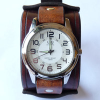 Brown Leather Watch, Silver Watch, Bracelet Watch, Gift For Him, Annyversary Gift