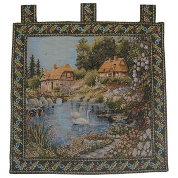 """Village Scene French Country Elegant Woven Fabric Baroque Tapestry Wall Hanging - 36"""" X 36"""""""