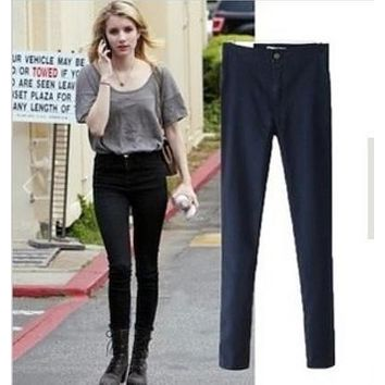 2015 Brand new fashion European style all matched skinny high waist jeans woman elastic sexy slim hip pencil pants women's jeans