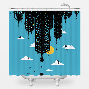 Melting Skyline Shower Curtain