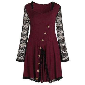 Vintage lace dress of wome Button square neck long sleeve short summer female vestidos Sexy bodycon tunic party dress