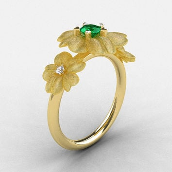 14K Yellow Gold Emerald Diamond Flower Wedding Ring, Engagement Ring NN107-14KYGDEM