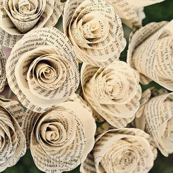 Pride and Prejudice, Twilight, and more Book Page Flower Paper Bouquet - Eco Friendly Upcycled Shabby Chic Ivory Single Stem Roses