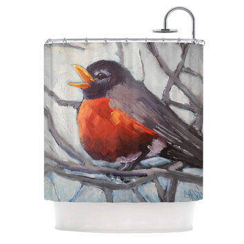 "Carol Schiff ""Winter Robin"" Gray Red Shower Curtain"